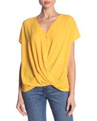 Lush - Short Sleeve Gathered Blouse - Lyst
