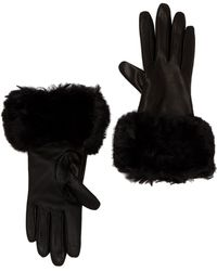 Ted Baker - Faux Fur Trim Leather Gloves - Lyst