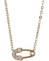 Nadri - 18k Gold Brass Cz Safety Pin Pendant Necklace - Lyst