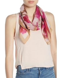 Vince Camuto - Watercolor Flowers Silk Square Scarf - Lyst