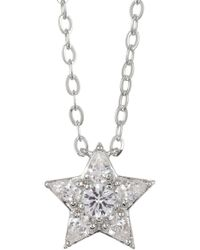 Nadri - Rhodium Plated Brass Cz Star Pendant Necklace - Lyst