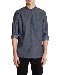 John Varvatos - Slim Fit Collarless Mesh Design Dress Shirt - Lyst