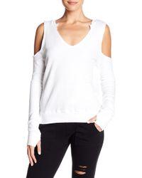 Pam & Gela - V-neck Cold Shoulder Sweater - Lyst