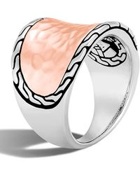 John Hardy - Classic Chain Hammered 18k Rose Gold & Sterling Silver Saddle Ring - Size 6 - Lyst
