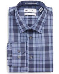 Calibrate - Trim Fit Stretch No-iron Check Dress Shirt - Lyst