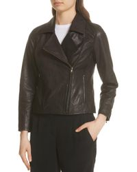 Eileen Fisher - Leather Moto Jacket - Lyst