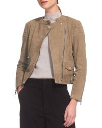 Whistles - Collarless Suede Moto Jacket - Lyst