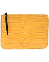 Elizabeth and James - Croc Embossed Leather Zip Pouch - Lyst