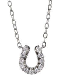 Nadri - Rhodium Plated Brass Cz Horseshoe Pendant Necklace - Lyst