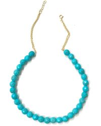 Charlene K - 14k Gold Plated Sterling Silver Beaded Turquoise Adjustable Choker - Lyst