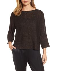 Eileen Fisher - Metallic Organic Linen Blend Sweater (regular & Petite) - Lyst