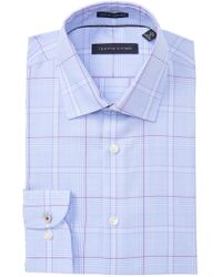 330baa39e4021 Lyst - Tommy Hilfiger Slim-Fit Red And Blue Plaid Dress Shirt in ...