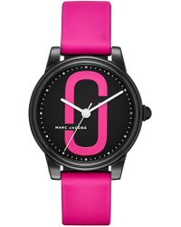 Marc Jacobs - Women's Corie Black Ip And Pink Silicone Three-hand Watch, 36mm - Lyst
