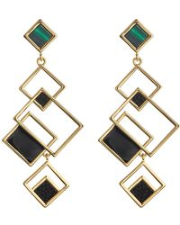Trina Turk   Geometric Leather & Malachite Drop Earrings   Lyst