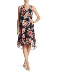 Sharagano - Floral Midi Dress - Lyst