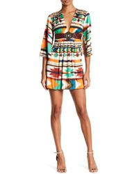 Sky - Obama Silk 3/4 Sleeve Leather Detailed Mini Dress - Lyst