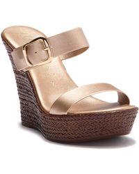 Italian Shoemakers - Rosy Slip-on Wedge Heel Sandal - Lyst