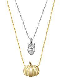 Alex Woo - Sterling Silver & 14k Gold Mini Owl & Pumpkin Necklace - Set Of 2 - Lyst