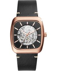 Fossil - Men's Rutherford Automatic Three-hand Black Leather Watch, 38mm - Lyst