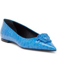 7c90444fb5cf Versace - Medusa Croc Embossed Pointed Toe Flat - Lyst