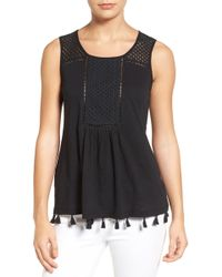 Caslon | (r) Tassel Trim Embroidered Tank (regular & Petite) | Lyst