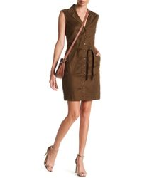 Level 99 - Adaline Front Button Waist Tie Linen Blend Dress - Lyst