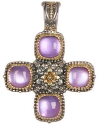 Konstantino - Sterling Silver & 18k Gold Square Cut 4 Stone Amethyst Cross Pendant - Lyst