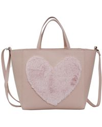 T-Shirt & Jeans - Faux Fur Heart Tote Bag - Lyst