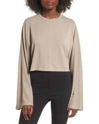 Lush - Ribbed Bell Sleeve Crop Top - Lyst