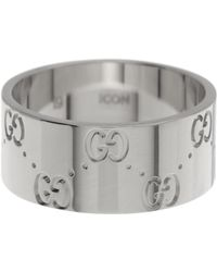 Gucci - 18k White Gold Icon Engraved Band Ring - Size 5.75 - Lyst