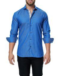 Maceoo - Wall Street Blue Weave Long Sleeve Regular Fit Dress Shirt - Lyst