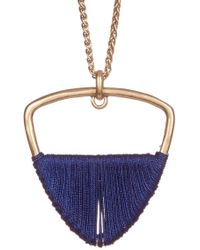 Lucky Brand - Navy Thread Wrapped Open Triangle Pendant Necklace - Lyst
