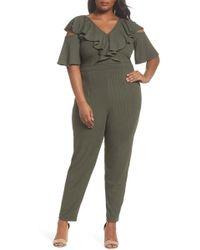 Lost Ink - Ruffle Cold Shoulder Knit Jumpsuit (plus Size) - Lyst