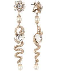 Marchesa - Imitation Pearl & Crystal Linear Snake Drop Earrings - Lyst