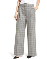 Emerson Rose - Check Plaid Wide Leg Suit Pants - Lyst