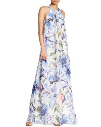 Chetta B - Floral Draped Maxi Dress - Lyst