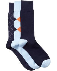 Cole Haan - Argyle & Stripe Crew Socks - Pack Of 3 - Lyst