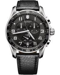 Victorinox - Men's Chrono Classic Xls Leather Strap Watch, 45mm - Lyst