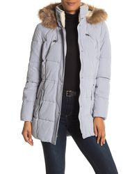 Nautica - Faux Fur Trim Puffer Jacket - Lyst