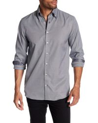Lindbergh - Double Collar Checkered Regular Fit Long Sleeve Shirt - Lyst