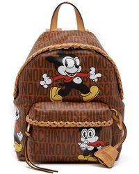 Moschino | Bimbo Logo Print Leather Backpack | Lyst