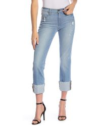 FRAME - Le High Straight Cuffed Jeans - Lyst