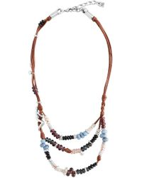 Uno De 50 - Kaa Beaded Layered Leather Necklace - Lyst