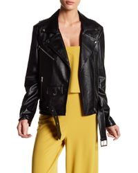 Do+Be Collection - Faux Leather Jacket With Waist Belt - Lyst