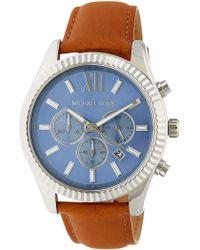 MICHAEL Michael Kors - Men's Lexington Leather Strap Watch - Lyst