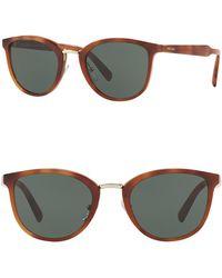 7f9188ae64d6 Lyst - Prada 54mm Round Aviator Sunglasses in Brown for Men