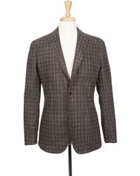 Boga - Tobacco & Charcoal Plaid Notch Lapel Modern Fit Wool Blazer - Lyst