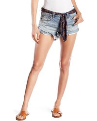 Free People - Print Sash Raw Hem Relaxed Shorts - Lyst