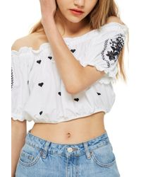 66381be8cf0 TOPSHOP - Gypsy Embroidered Crop Top - Lyst