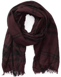 John Varvatos - Lightweight Plaid Merino Wool Scarf - Lyst